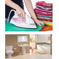 ironing, cleaning toilets